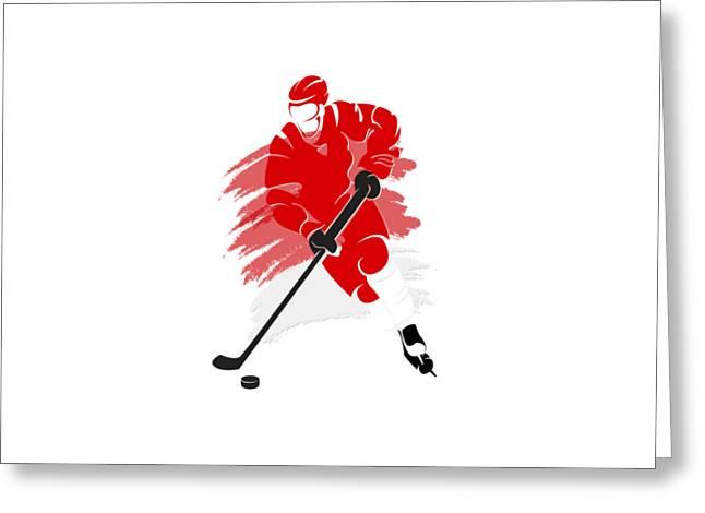 Ice-skating Greeting Cards - Detroit Red Wings Player Shirt Greeting Card by Joe Hamilton