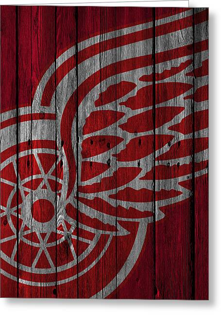 Detroit Red Wings Wood Fence Greeting Card by Joe Hamilton