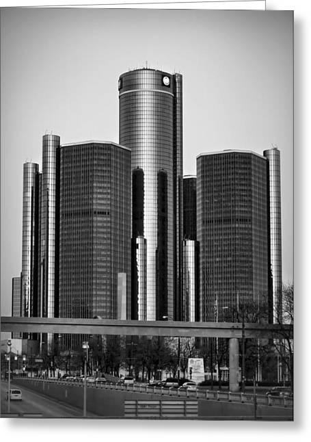 Ren Cen Greeting Cards - Detroit Renaissance Center General Motors GM World Headquarters Greeting Card by Ryan Dean