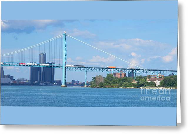 Renaissance Center Greeting Cards - Detroit River Bend - Panorama Greeting Card by Ann Horn