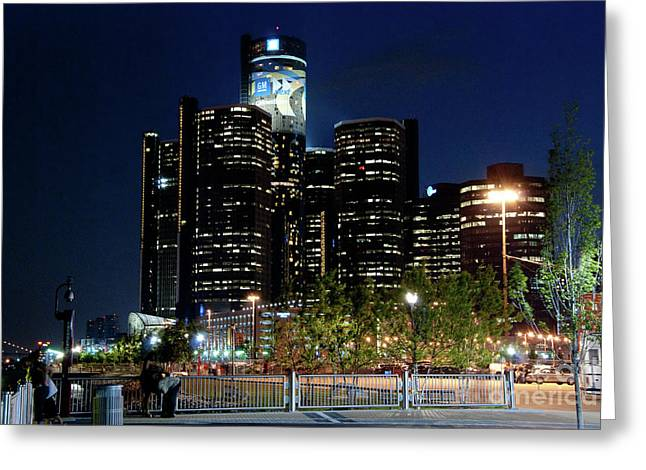 Best Sellers -  - Renaissance Center Greeting Cards - Detroit River Walk Greeting Card by Nicole A Talbot