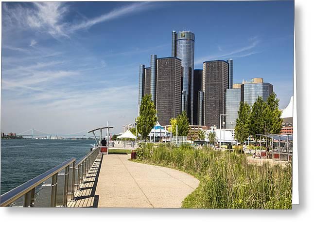 Renaissance Center Greeting Cards - Detroit Riverfront 3  Greeting Card by John McGraw
