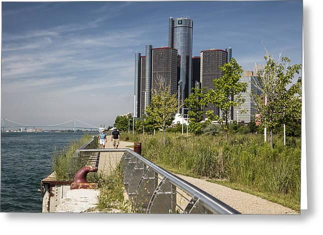 Renaissance Center Greeting Cards - Detroit Riverfront 5 Greeting Card by John McGraw