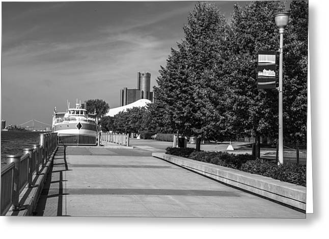 Renaissance Center Greeting Cards - Detroit Riverfront Black and White 2 Greeting Card by John McGraw