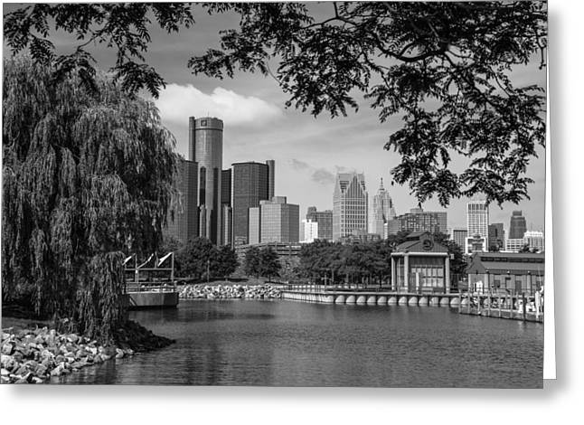 Renaissance Center Greeting Cards - Detroit Skyline and Marina Black and White  Greeting Card by John McGraw