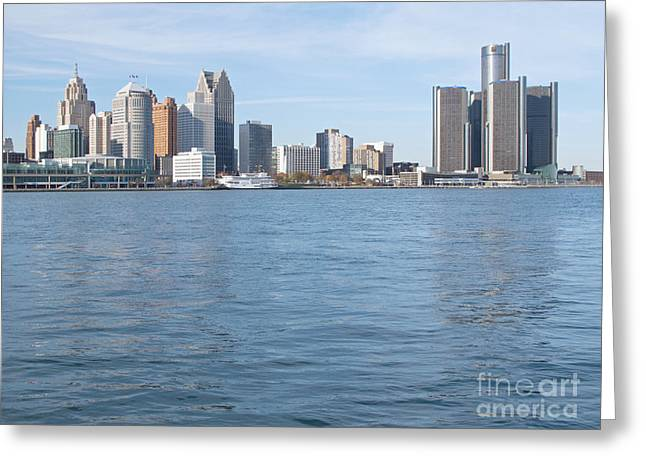 Greeting Cards - Detroit Skyline and River Greeting Card by Ann Horn