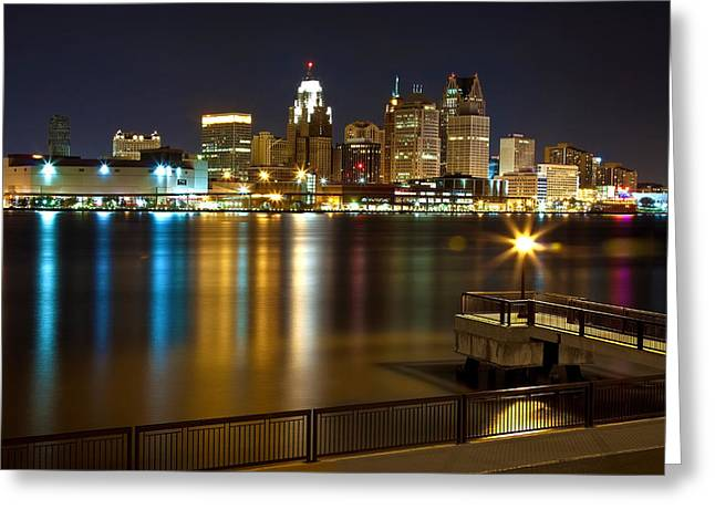 Tranquil Scene Escapism Greeting Cards - Detroit skyline by night Greeting Card by Cosmin Nahaiciuc