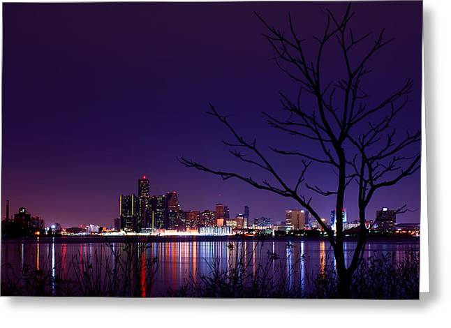 Winter Night Greeting Cards - Detroit Skyline Greeting Card by Cale Best