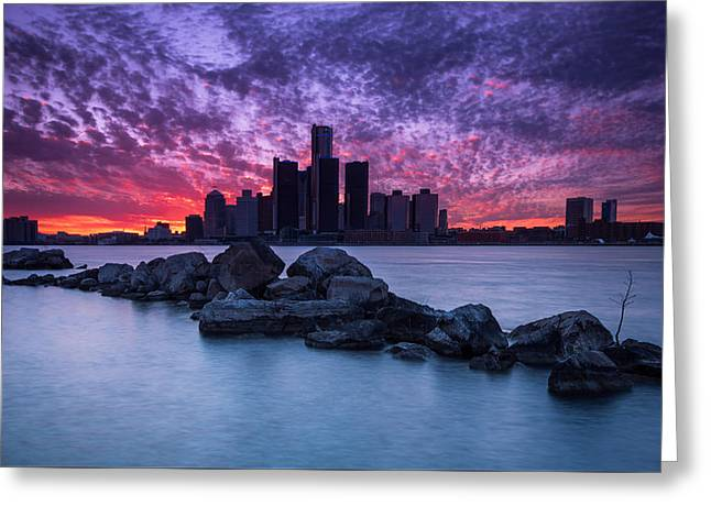 Detroit Skyline Clouds Greeting Card by Cale Best