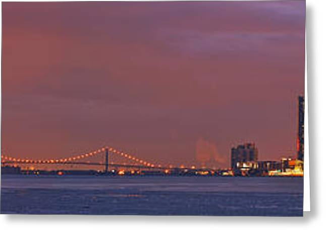 Detroit Skyline Greeting Card by Michael Peychich
