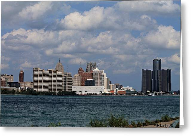 Rencen Greeting Cards - Detroit Skyline Greeting Card by Robin Lusk