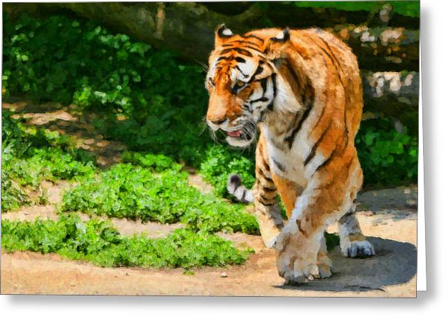 Detroit Tigers Digital Art Greeting Cards - Detroit Tiger Greeting Card by Paul Bartoszek