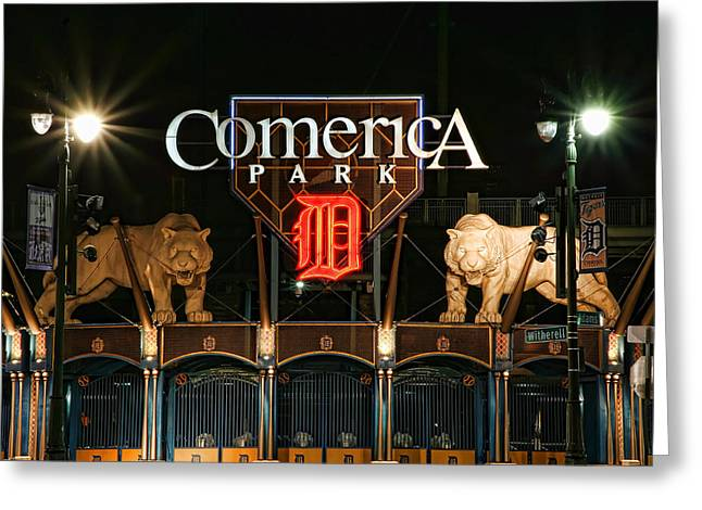 Bat Digital Greeting Cards - Detroit Tigers - Comerica Park Greeting Card by Gordon Dean II
