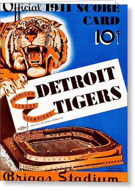 Stadium Design Paintings Greeting Cards - Detroit Tigers 1941 Scorecard Greeting Card by Big 88 Artworks