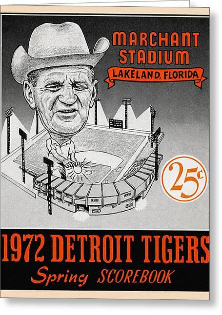 Stadium Design Paintings Greeting Cards - Detroit Tigers 1972 Spring Scorebook Greeting Card by Big 88 Artworks