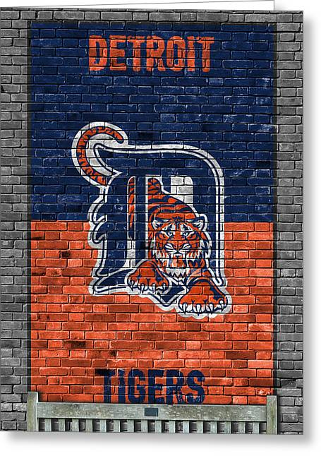 Detroit Tigers Brick Wall Greeting Card by Joe Hamilton