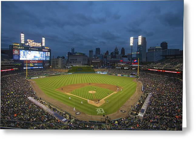 Boys Of Summer Greeting Cards - Detroit Tigers Comerica Park 2 Greeting Card by David Haskett