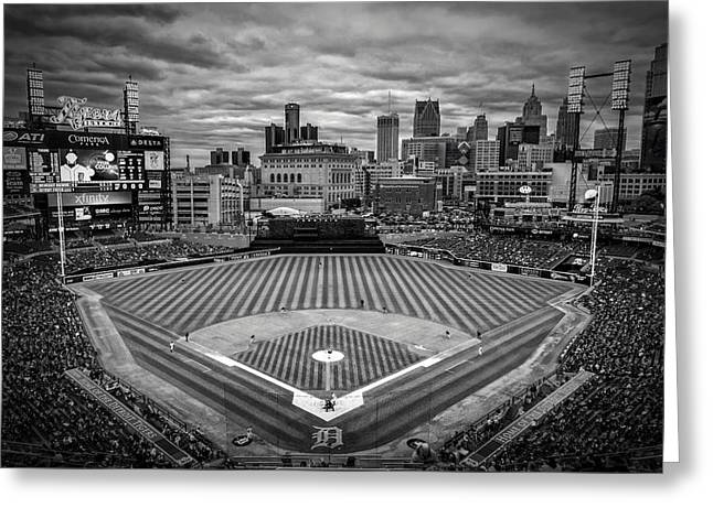 Boys Of Summer. Greeting Cards - Detroit Tigers Comerica Park BW 4837 Greeting Card by David Haskett