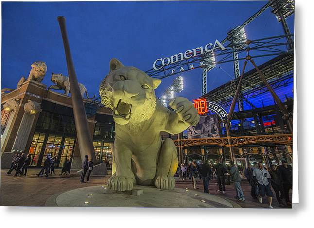 Boys Of Summer Greeting Cards - Detroit Tigers Comerica Park Front Gate Tiger Greeting Card by David Haskett