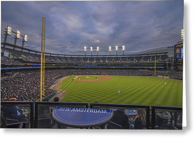 Boys Of Summer Greeting Cards - Detroit Tigers Comerica Park Right Field View 1 Greeting Card by David Haskett
