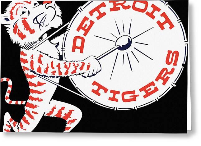 Best Seller Greeting Cards - Detroit Tigers Vintage Drum Poster Greeting Card by Big 88 Artworks
