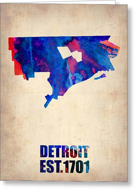 State Map Greeting Cards - Detroit Watercolor Map Greeting Card by Naxart Studio