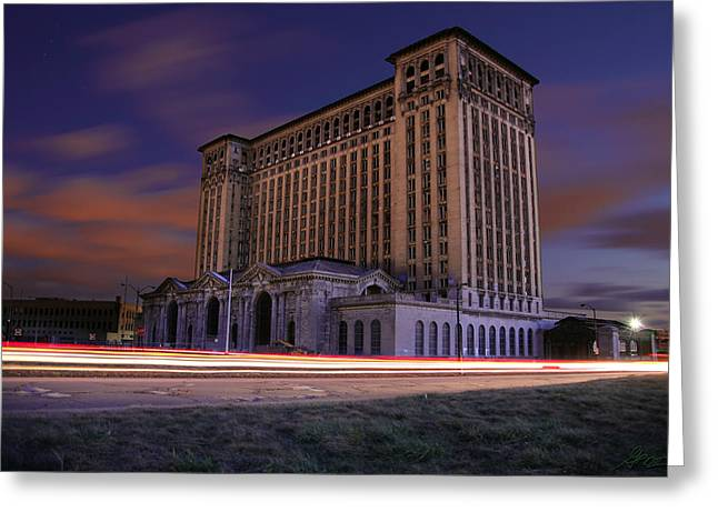 Artist Greeting Cards - Detroits Abandoned Michigan Central Station Greeting Card by Gordon Dean II