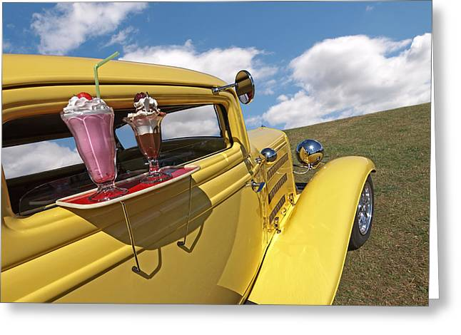 Deuce Coupe At The Drive-in Greeting Card by Gill Billington