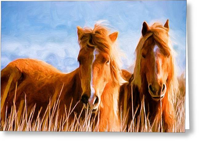 Wild Horses Greeting Cards - Deuces Wild Greeting Card by Steven Richardson