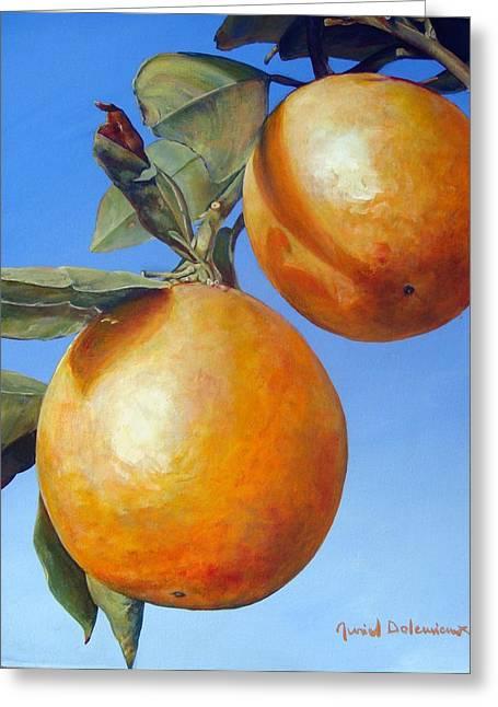Deux Oranges Greeting Card by Muriel Dolemieux