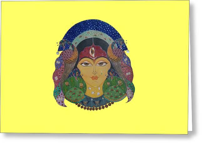 Hindu Goddess Paintings Greeting Cards - Devi Tee Greeting Card by Vidya Vivek