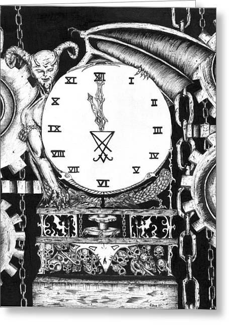Robert The Devil Greeting Cards - Devil In The Clock Greeting Card by Bob Veon
