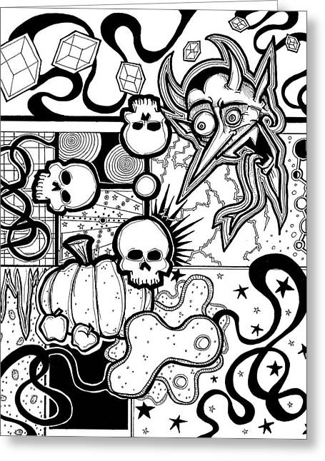 Pumpkins Drawings Greeting Cards - Devil Montage Greeting Card by Christopher Capozzi