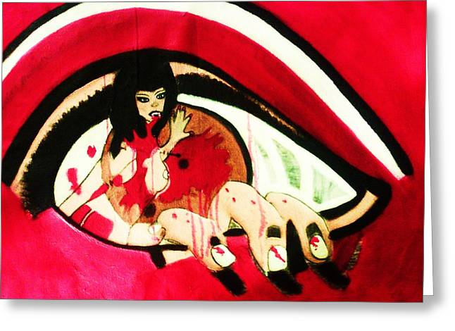 Etc. Paintings Greeting Cards - Devil Women Greeting Card by HollyWood Creation By linda zanini