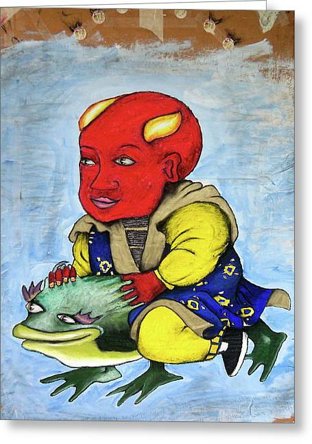 Flying Frog Mixed Media Greeting Cards - Devilboy Greeting Card by Billy Knows