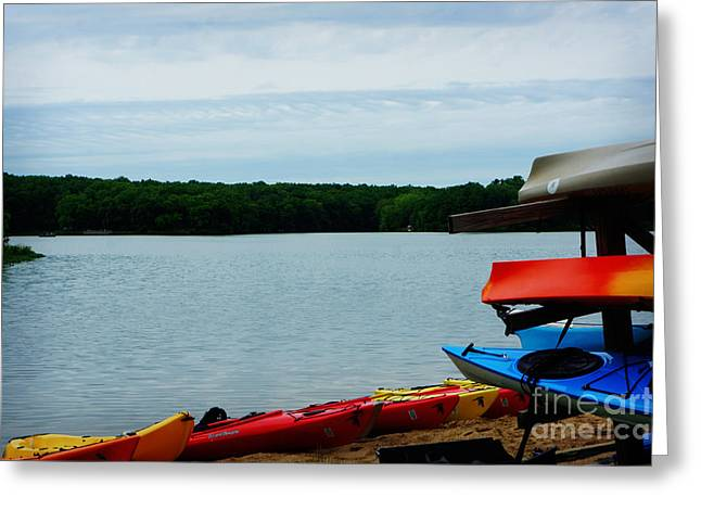 Canoe Paintings Greeting Cards - Devils Lake Baraboo Wisonsin Greeting Card by Adam Asar
