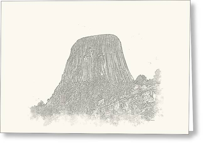 Monolith Greeting Cards - Devils Tower Vignette Greeting Card by John Bailey