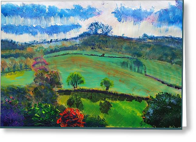 A Summer Evening Landscape Greeting Cards - Devon Landscape Painting Greeting Card by Mike Jory