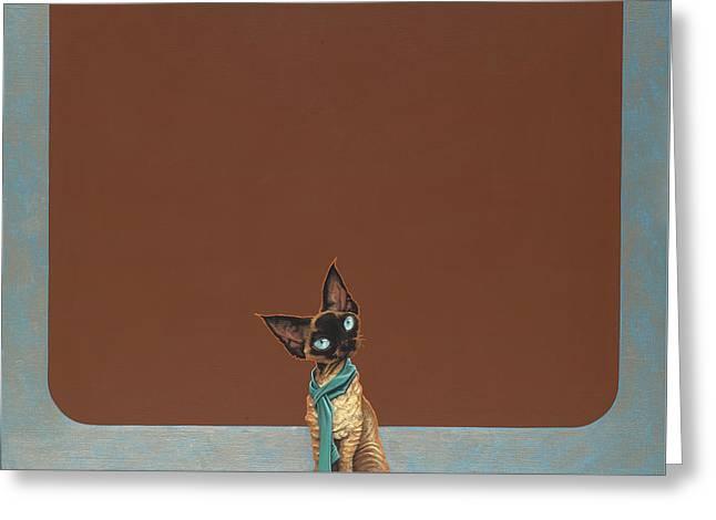 Ears Greeting Cards - Devon Rex Greeting Card by Jasper Oostland