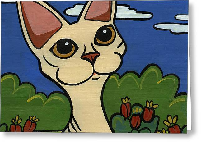 Devon Rex Greeting Card by LEANNE WILKES