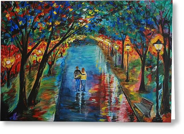 Couple In Arms Greeting Cards - Devoted To You Greeting Card by Leslie Allen