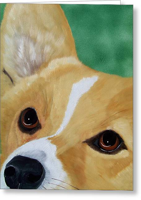 Herding Dogs Greeting Cards - Devotion-Corgi Eyes of Love Greeting Card by Debbie LaFrance