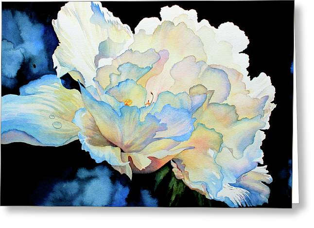 Close Up Paintings Greeting Cards - Dew Drops on Peony Greeting Card by Hanne Lore Koehler