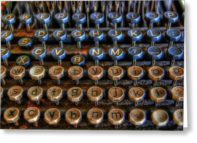 Typewriter Greeting Cards - Dfghjk Greeting Card by Joel Witmeyer