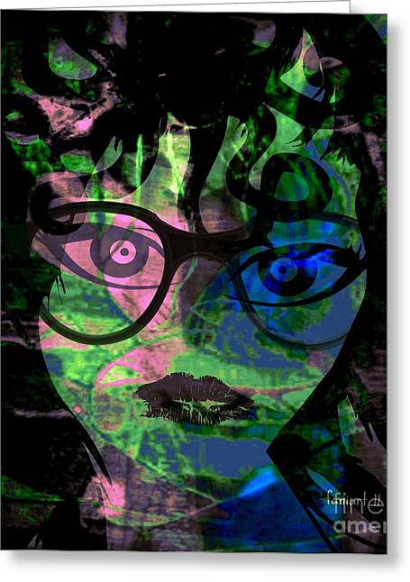 Servant Mixed Media Greeting Cards - DG - Digital Girl Greeting Card by Fania Simon