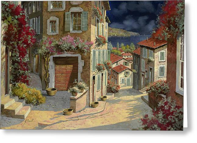 Sea Greeting Cards - Di Notte Al Mare Greeting Card by Guido Borelli