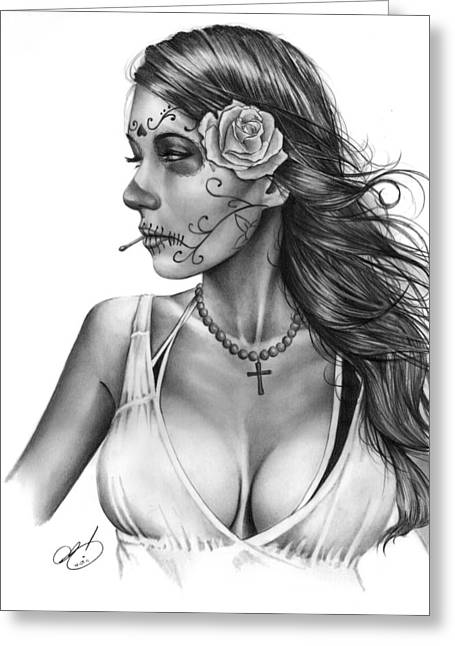 Graphite Greeting Cards - Dia De Los Muertos 1 Greeting Card by Pete Tapang