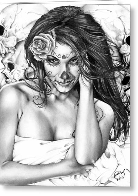 Graphite Greeting Cards - Dia De Los Muertos 2 Greeting Card by Pete Tapang