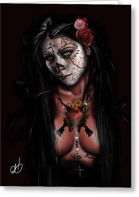 Whites Drawings Greeting Cards - Dia De Los Muertos 3 Greeting Card by Pete Tapang