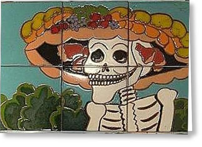 Old Ceramics Greeting Cards - Dia De Los Muertos Greeting Card by Yana Yatsyk
